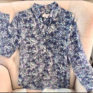 Ann Taylor Loft Blue Floral Blouse
